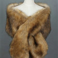 Quality Bridal Fur Scarf Shawls Women Winter Warm Solid Panties 165*30CM - Brown