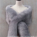Quality Bridal Fur Scarf Shawls Women Winter Warm Solid Panties 165*30CM - Grey