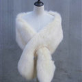 Quality Bridal Fur Scarf Shawls Women Winter Warm Solid Panties 165*30CM - White