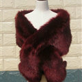 Quality Bridal Fur Scarf Shawls Women Winter Warm Solid Panties 165*30CM - Wine Red