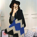 Rhombus Women Scarf Shawl Winter Warm Cashmere Panties 200*60CM - Black