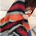 Striped Unisex Scarf Shawls Cashmere Warm Pashmina Scarves Wraps 190*60CM - Orange