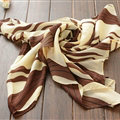 Striped Women Scarf Shawls Winter Warm Polyester Scarves 180*70CM - Beige
