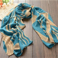 Striped Women Scarf Shawls Winter Warm Polyester Scarves 180*70CM - Blue