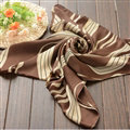 Striped Women Scarf Shawls Winter Warm Polyester Scarves 180*70CM - Brown