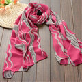 Striped Women Scarf Shawls Winter Warm Polyester Scarves 180*70CM - Pink