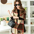Tassels Plaid Women Scarf Shawl Winter Warm Cashmere Panties 200*60CM - Brown