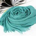Unique Solid Scarf Shawls Women Winter Warm Cotton Panties 190*60CM - Blue