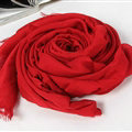 Unique Solid Scarf Shawls Women Winter Warm Cotton Panties 190*60CM - Red