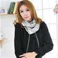 Unique Striped Scarf Shawls Unisex Winter Warm Cotton Panties 180*30CM - Grey