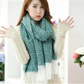 Unique Women Tassels Scarf Shawl Winter Warm Cashmere Solid Panties 215*65CM - Green