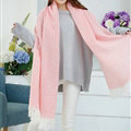 Unique Women Tassels Scarf Shawl Winter Warm Cashmere Solid Panties 215*65CM - Pink