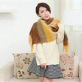 Unique Women Tassels Scarf Shawl Winter Warm Cashmere Striped Panties 215*65CM - Brown