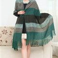 Unique Women Tassels Scarf Shawl Winter Warm Cashmere Striped Panties 215*65CM - Green