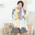 Unique Women Tassels Scarf Shawl Winter Warm Cashmere Striped Panties 215*65CM - Purple