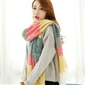 Unique Women Tassels Scarf Shawl Winter Warm Cashmere Striped Panties 215*65CM - Yellow