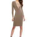Autumn Dresses Long Sleeved Sexy Female Band Nightclub A-Line Cotton - Khaki