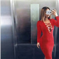 Autumn Dresses Long Sleeved Sexy Female Band Nightclub A-Line Cotton - Red