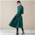 Autumn Dresses Mid-Calf Linen Ruffles Original Cotton Ladies Embroidery Slim Flower - Green