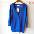 Autumn Winter Cardigans Solid Knitted Cardigan Sweater Slim Female All-Match Size - Blue