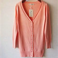 Autumn Winter Cardigans Solid Knitted Cardigan Sweater Slim Female All-Match Size - Orange