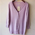 Autumn Winter Cardigans Solid Knitted Cardigan Sweater Slim Female All-Match Size - Purple