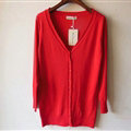 Autumn Winter Cardigans Solid Knitted Cardigan Sweater Slim Female All-Match Size - Red