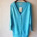 Autumn Winter Cardigans Solid Knitted Cardigan Sweater Slim Female All-Match Size - Sky Blue