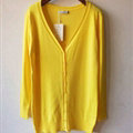 Autumn Winter Cardigans Solid Knitted Cardigan Sweater Slim Female All-Match Size - Yellow