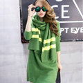 Cute Dresses Winter Female Warm O-Neck Polyester Scarf Knee Length Long Sleeve - Green