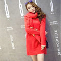 Cute Dresses Winter Female Warm O-Neck Polyester Scarf Knee Length Long Sleeve - Red