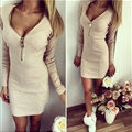 Dresses Winter Solid Autumn Women Long Sleeve Zipper Bodycon V-neck - Beige