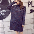 Dresses Winter Turtleneck Knee-Length Solid Street Fashion Pocket Color Female - Blue