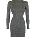Dresses Women Sexy Worsted Winter Split Long Sleeved Turtleneck - Dark Grey