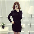Dresses Women Winter Long Sleeved Pullover Solid Slim Package Hip knitted Midi Office - Black