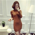 Dresses Women Winter Long Sleeved Pullover Solid Slim Package Hip knitted Midi Office - Brown