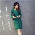 Fashion Dresses Winter Women Slim Solid O-Neck Knee-Length Cotton - Green