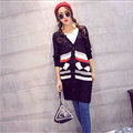 Fashion Sweater Cardigan Embroidery Female Long Thin Loose - Black