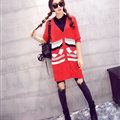 Fashion Sweater Cardigan Embroidery Female Long Thin Loose - Red