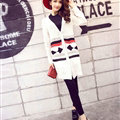 Fashion Sweater Cardigan Embroidery Female Long Thin Loose - White