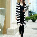Fashion Sweater Cardigan Stripe Loose Female Thin Hand Knitted Long - White