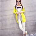 Fashion Sweater Female Cardigan Long False Two Hooded Explosion Thick Solid - Yellow