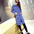 Fashion Sweater Female Striped Single Breasted Hooded Cardigan Pockets - Blue