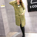 Fashion Sweater Female Striped Single Breasted Hooded Cardigan Pockets - Green