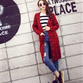 Fashion Sweater Flat Knitted Cardigan Coat Long Thick Warm Solid V-Neck - Red