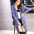 Fashion Sweater Girls Winter Cardigan Coat Slim Striped Single Breasted Long Sleeve - Blue