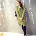 Fashion Sweater Girls Winter Cardigan Coat Slim Striped Single Breasted Long Sleeve - Green