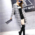 Fashion Sweater Girls Winter Cardigan Coat Slim Striped Single Breasted Long Sleeve - Grey