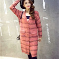 Fashion Sweater Girls Winter Cardigan Coat Slim Striped Single Breasted Long Sleeve - Red