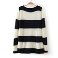 Fashion Sweater Hand Knitted Stripe Burst Loose Lady O-Neck - Black